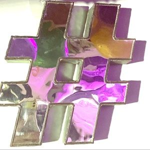 Hashtag # wall art mirrored front and metal sides